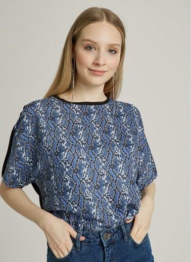 NGSTYLE Yılan Desenli Bluz Lacivert